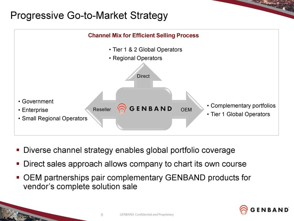Global Operators Diverse channel strategy enables global portfolio coverage Direct sales approach allows company