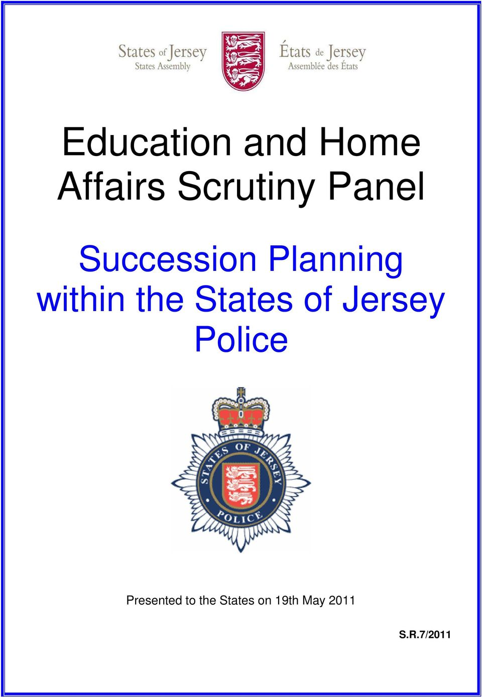 States of Jersey Police Presented to