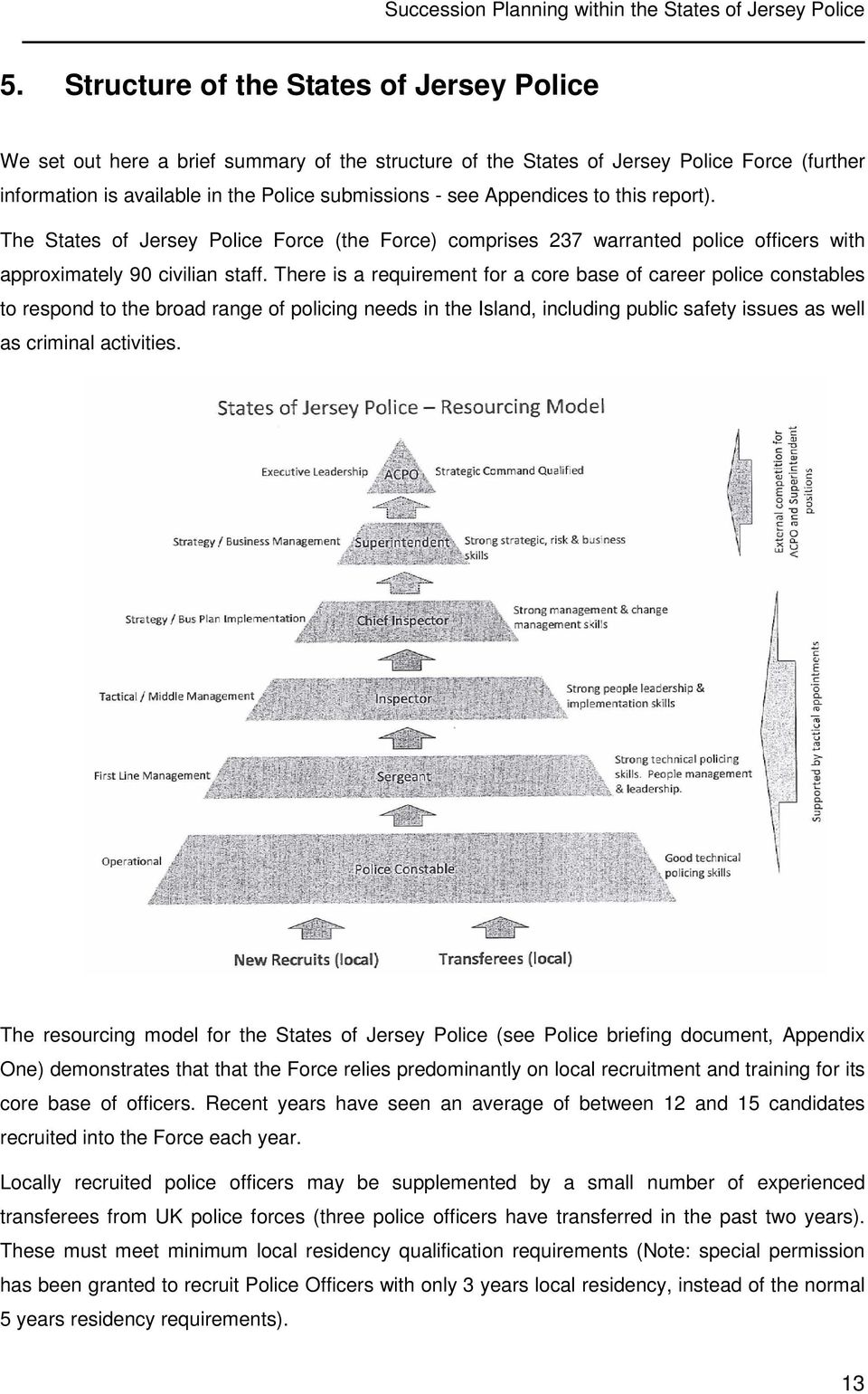 Appendices to this report). The States of Jersey Police Force (the Force) comprises 237 warranted police officers with approximately 90 civilian staff.