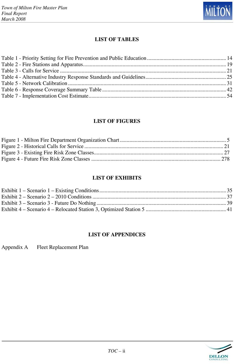 .. 54 LIST OF FIGURES Figure 1 - Milton Fire Department Organization Chart... 5 Figure 2 - Historical Calls for Service... 21 Figure 3 - Existing Fire Risk Zone Classes.