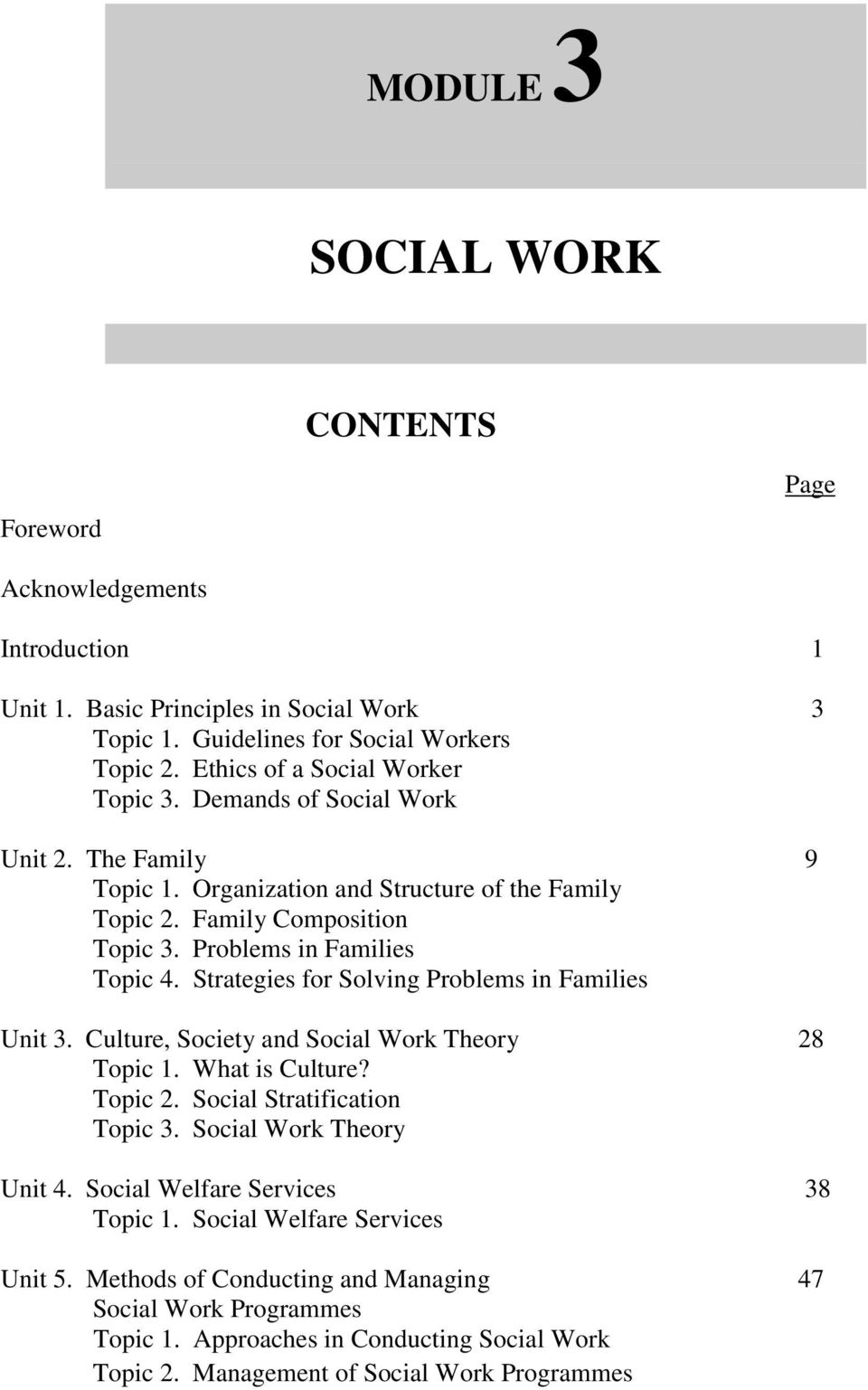 Problems in Families Topic 4. Strategies for Solving Problems in Families Unit 3. Culture, Society and Social Work Theory 28 Topic 1. What is Culture? Topic 2. Social Stratification Topic 3.