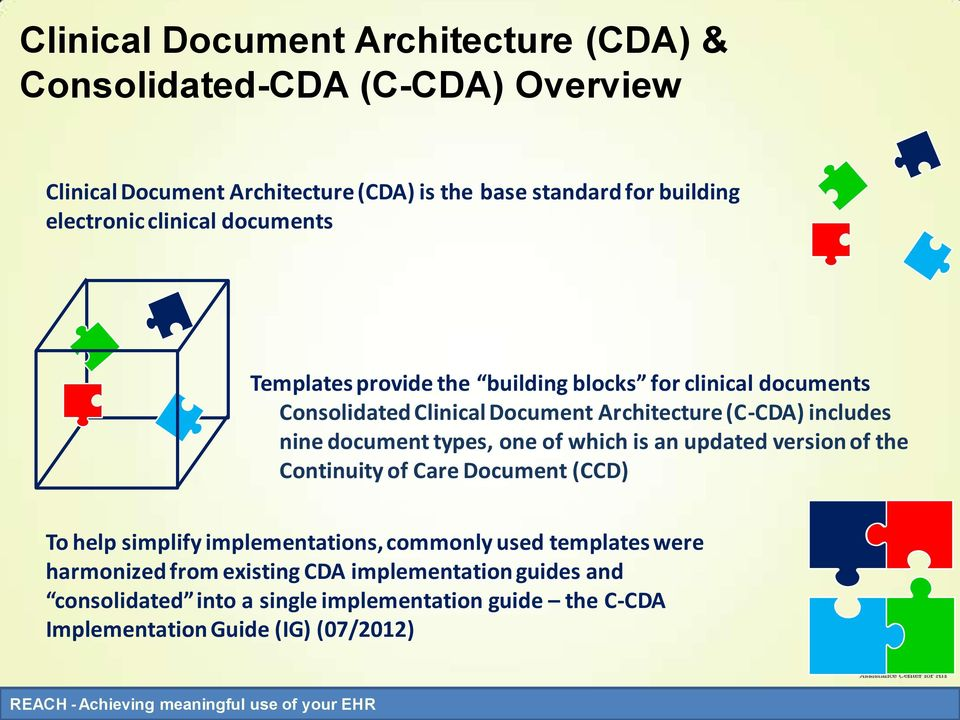 includes nine document types, one of which is an updated version of the Continuity of Care Document (CCD) To help simplify implementations, commonly