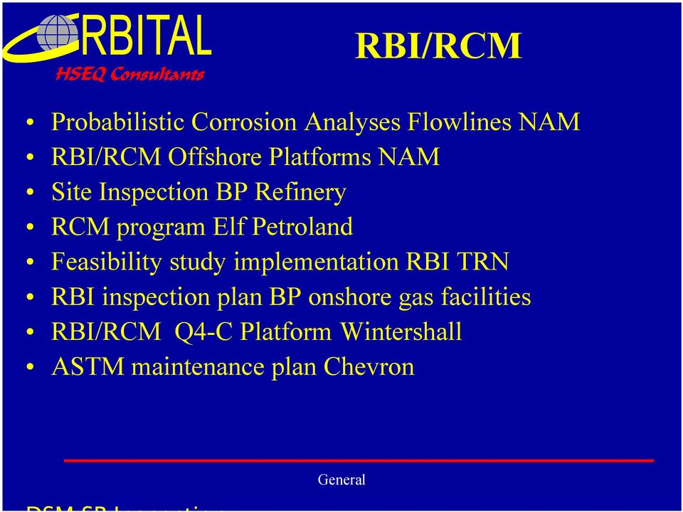 Feasibility study implementation RBI TRN RBI inspection plan BP onshore