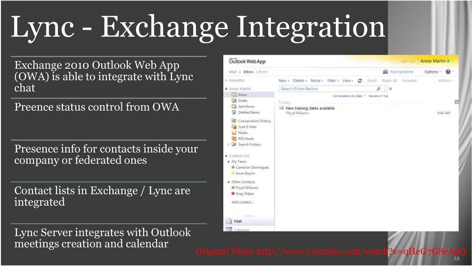 federated ones Contact lists in Exchange / Lync are integrated Lync Server integrates with
