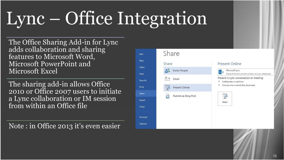 sharing add-in allows Office 2010 or Office 2007 users to initiate a Lync