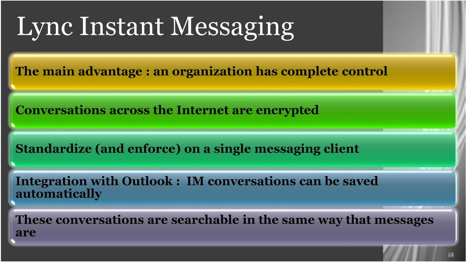 single messaging client Integration with Outlook : IM conversations can be saved