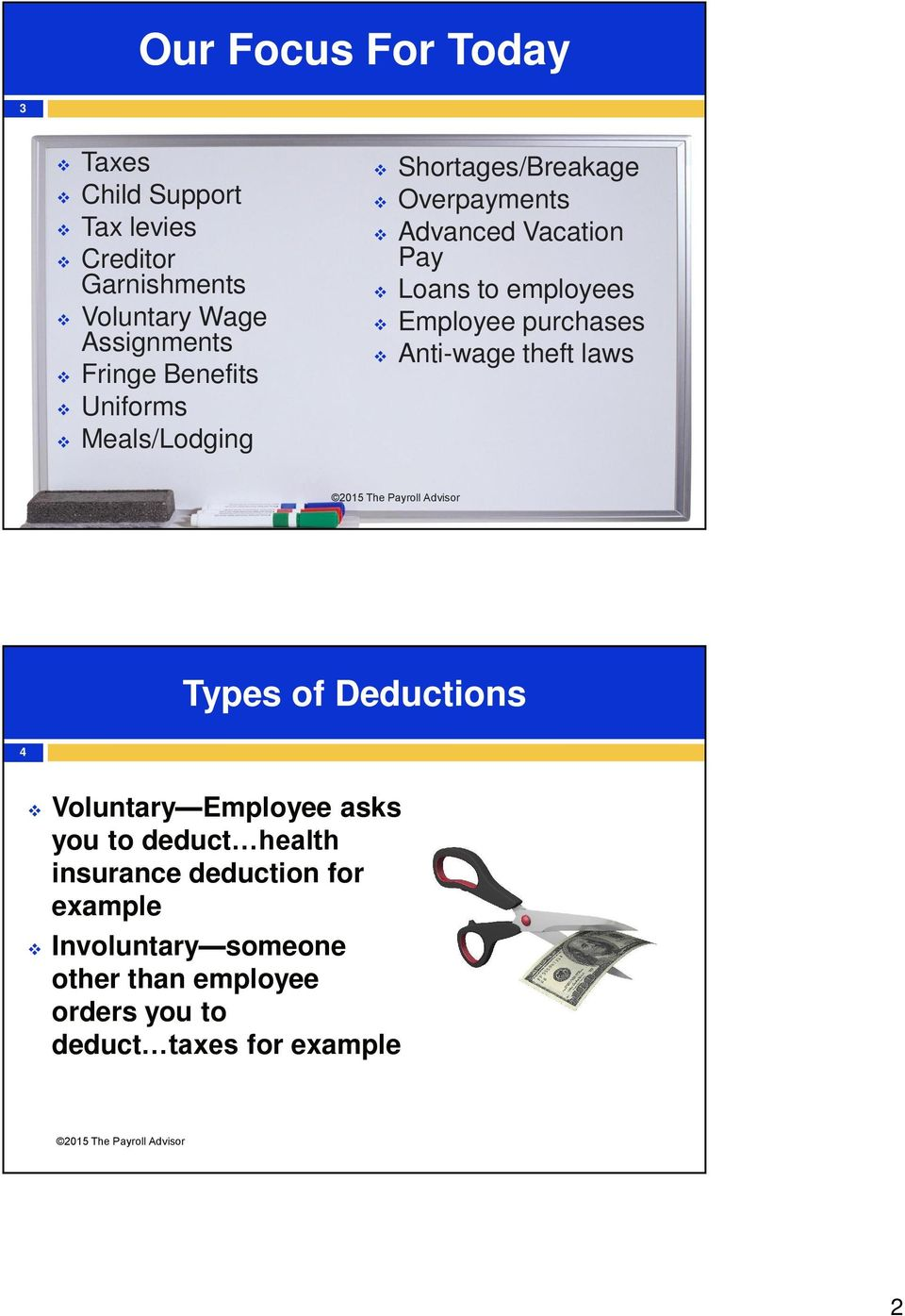 Employee purchases Anti-wage theft laws Types of Deductions 4 Voluntary Employee asks you to deduct health