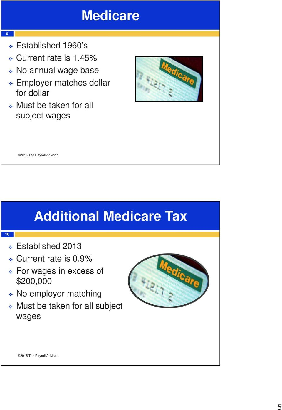 for all subject wages Additional Medicare Tax 10 Established 2013 Current