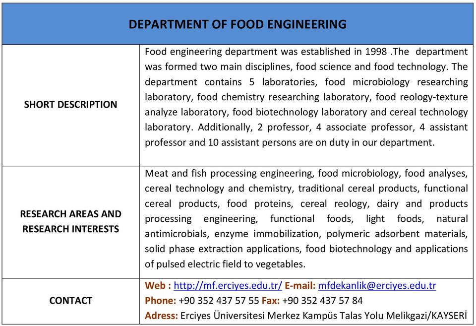 cereal technology laboratory. Additionally, 2 professor, 4 associate professor, 4 assistant professor and 10 assistant persons are on duty in our department.