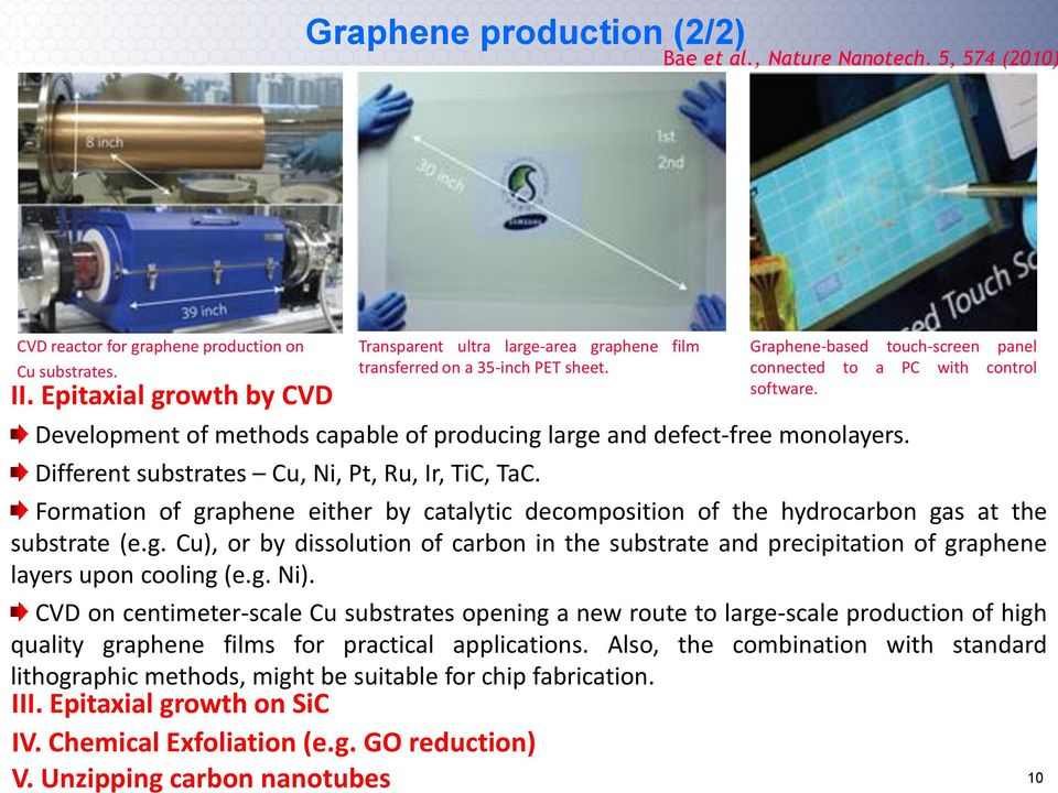 Different substrates Cu, Ni, Pt, Ru, Ir, TiC, TaC. Formation of graphene either by catalytic decomposition of the hydrocarbon gas at the substrate (e.g. Cu), or by dissolution of carbon in the substrate and precipitation of graphene layers upon cooling (e.