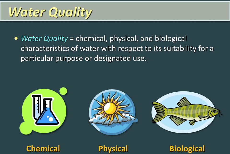 water with respect to its suitability for a