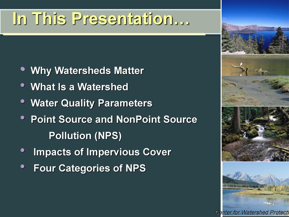 NonPoint Source Pollution (NPS) Impacts of Impervious