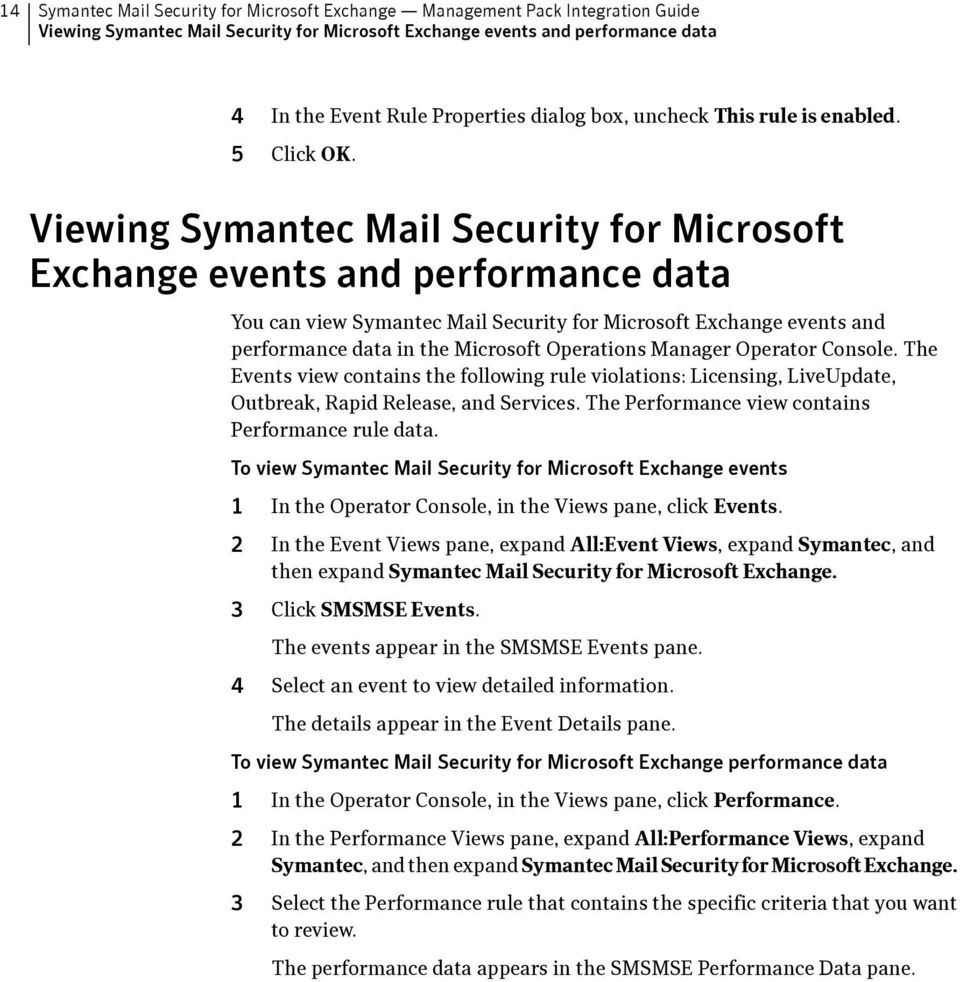 Viewing Symantec Mail Security for Microsoft Exchange events and performance data You can view Symantec Mail Security for Microsoft Exchange events and performance data in the Microsoft Operations