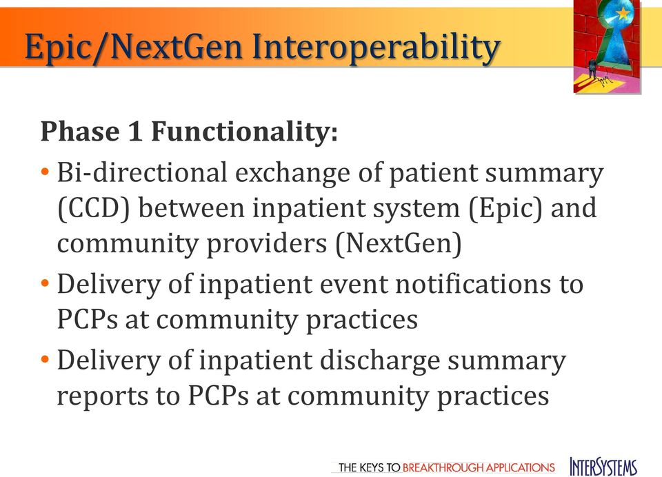 (NextGen) Delivery of inpatient event notifications to PCPs at community