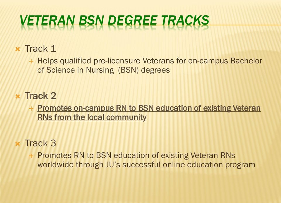 education of existing Veteran RNs from the local community Track 3 Promotes RN to BSN