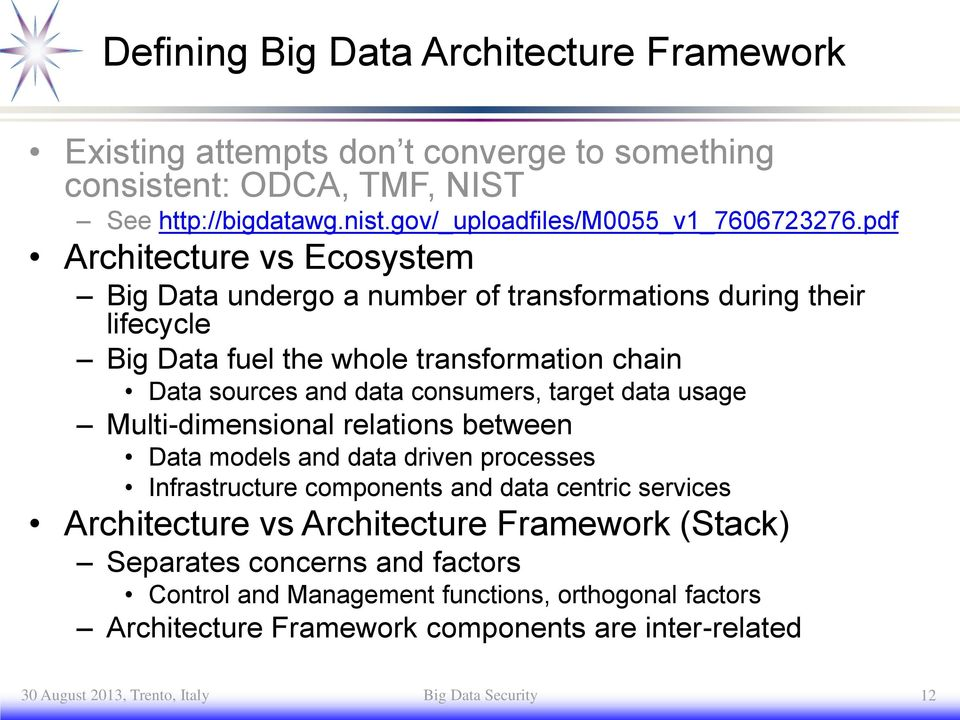 usage Multi-dimensional relations between models and data driven processes Infrastructure components and data centric services Architecture vs Architecture Framework (Stack)