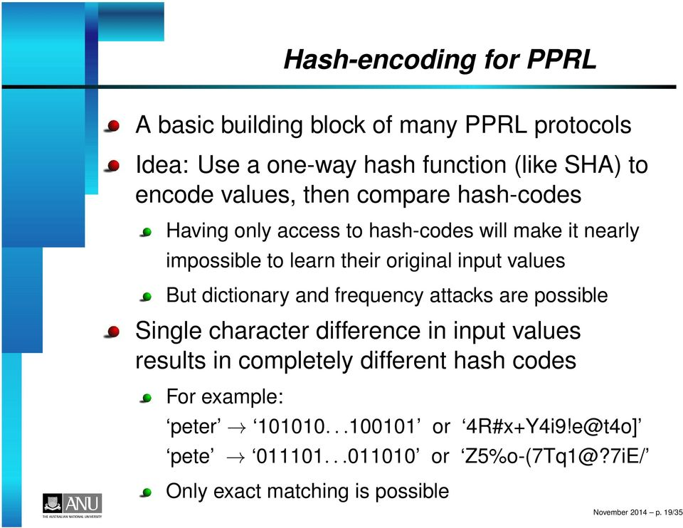 dictionary and frequency attacks are possible Single character difference in input values results in completely different hash codes