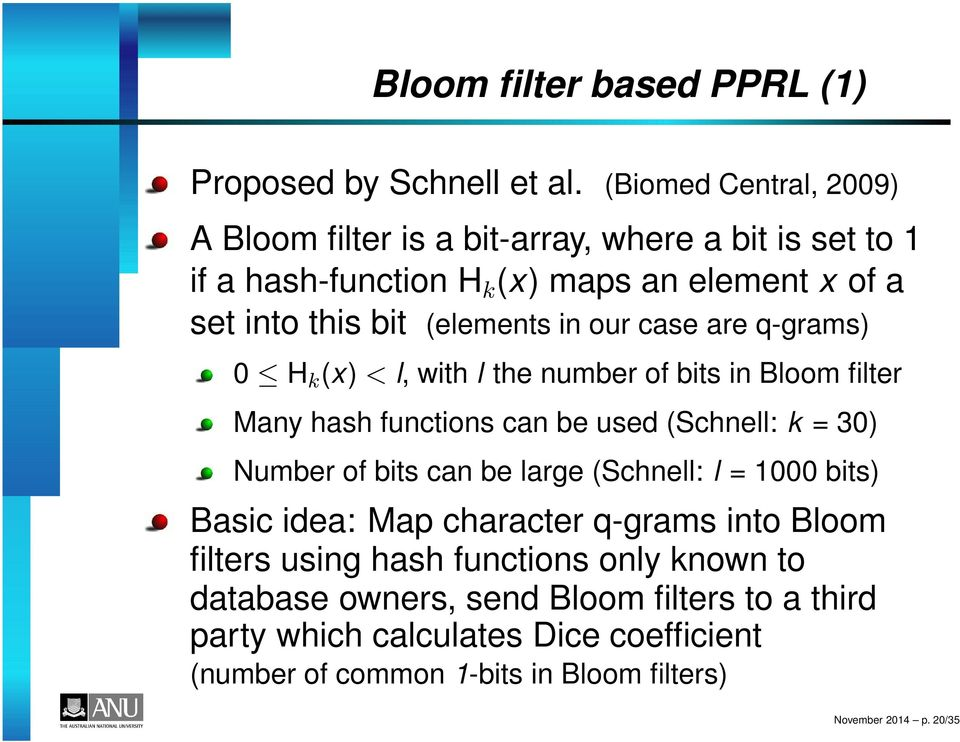 our case are q-grams) 0 H k (x) < l, with l the number of bits in Bloom filter Many hash functions can be used (Schnell: k = 30) Number of bits can be large