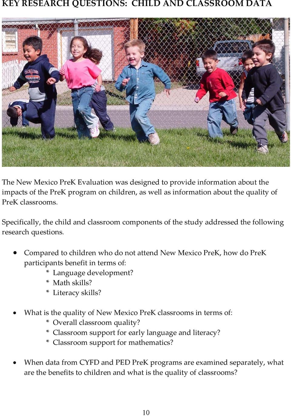 Compared to children who do not attend New Mexico PreK, how do PreK participants benefit in terms of: * Language development? * Math skills? * Literacy skills?