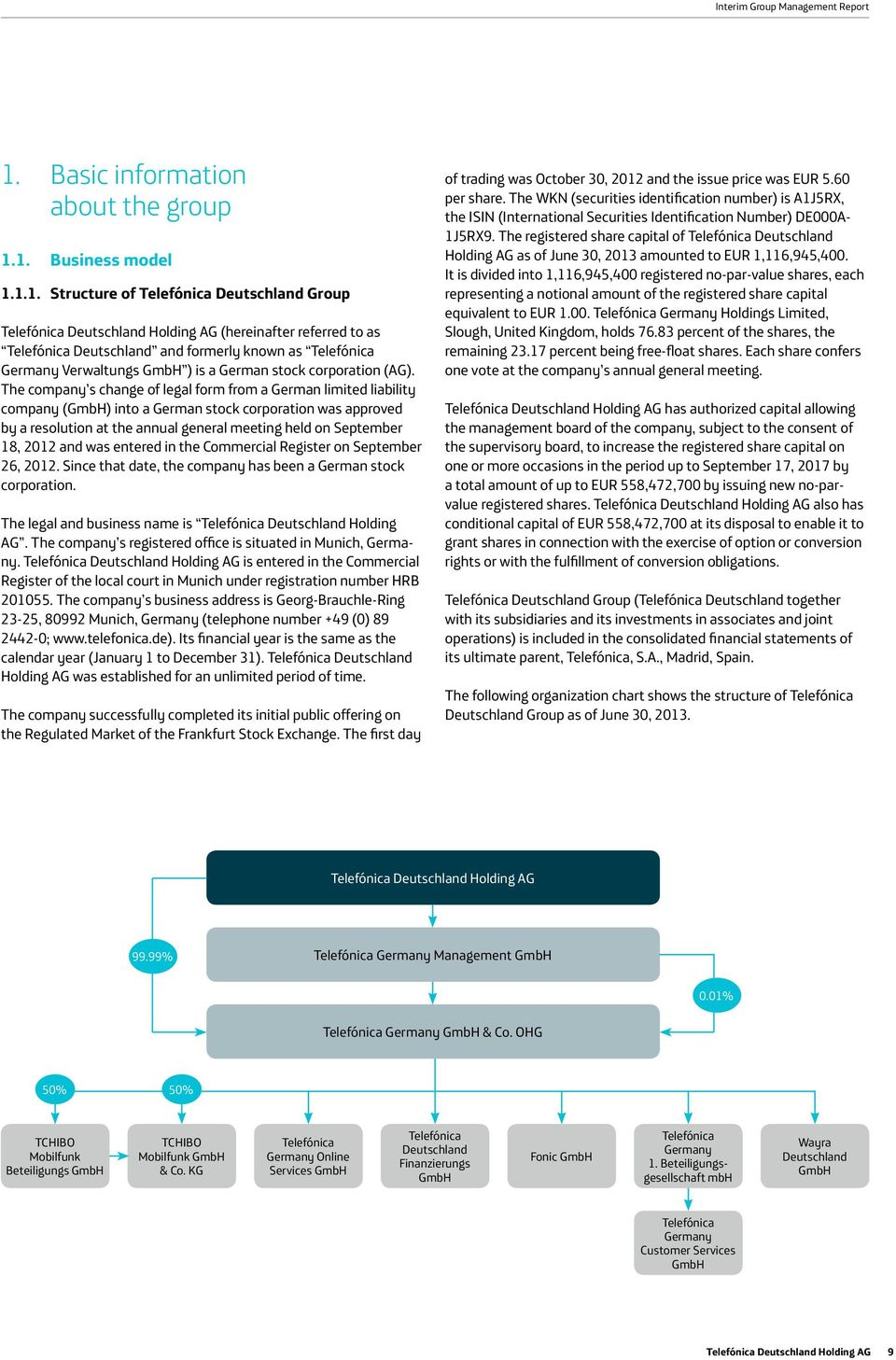 1. Business model 1.1.1. Structure of Telefónica Deutschland Group Telefónica Deutschland Holding AG (hereinafter referred to as Telefónica Deutschland and formerly known as Telefónica Germany