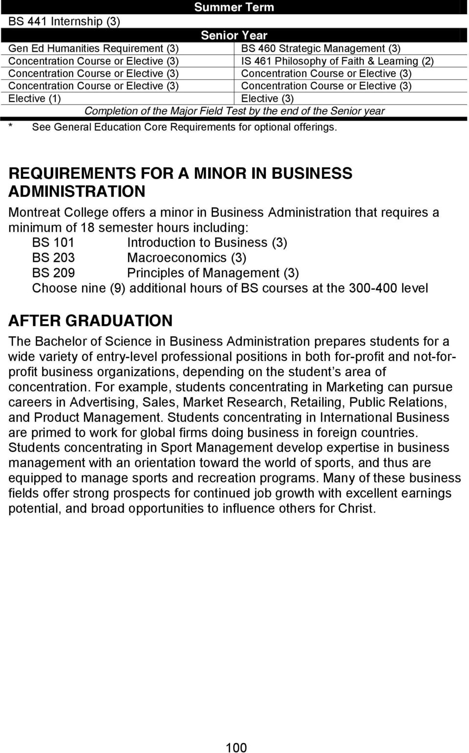 REQUIREMENTS FOR A MINOR IN BUSINESS ADMINISTRATION Montreat College offers a minor in Business Administration that requires a minimum of 18 semester hours including: BS 101 Introduction to Business