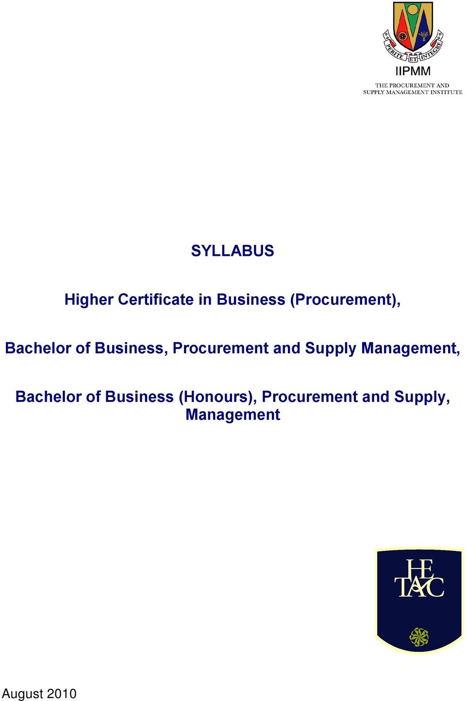 Procurement and Supply Management, Bachelor of
