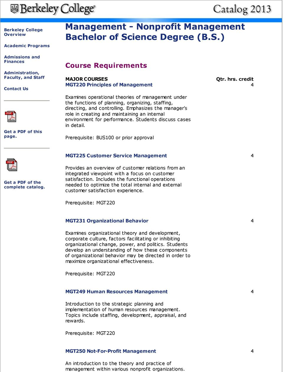 Course Requirements MAJOR COURSES Qtr. hrs.