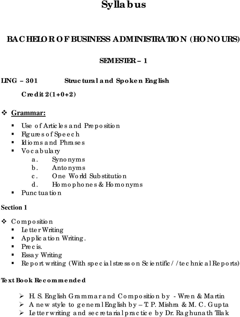 Homophones & Homonyms Punctuation Section 1 Composition Letter Writing Application Writing. Precis.