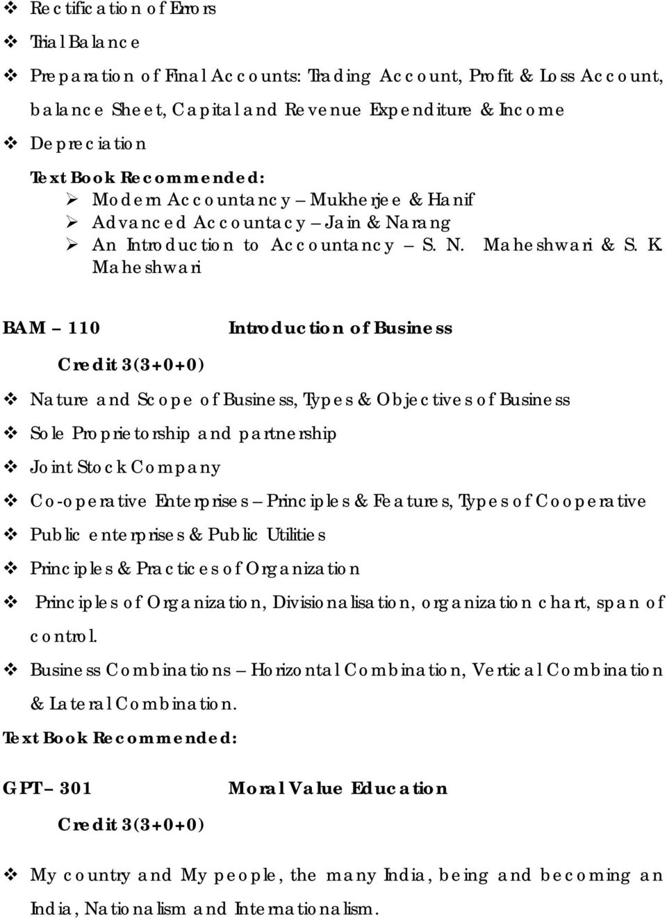 Maheshwari BAM 110 Introduction of Business Credit 3(3+0+0) Nature and Scope of Business, Types & Objectives of Business Sole Proprietorship and partnership Joint Stock Company Co-operative