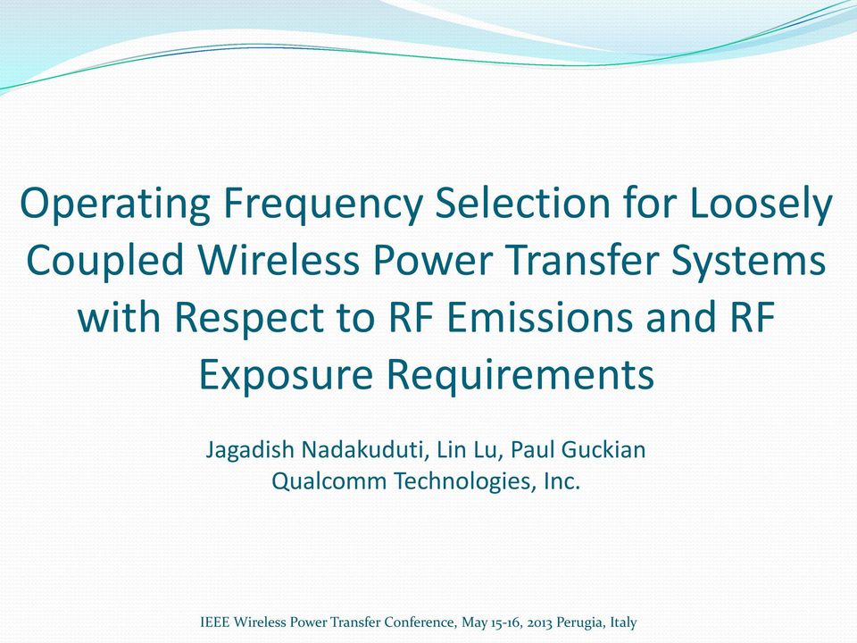 Emissions and RF Exposure Requirements Jagadish