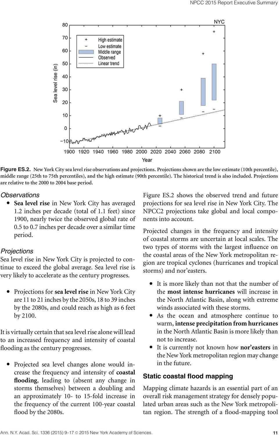 Projections are relative to the 2000 to 2004 base period. Observations Sea level rise in New York City has averaged 1.2 inches per decade (total of 1.
