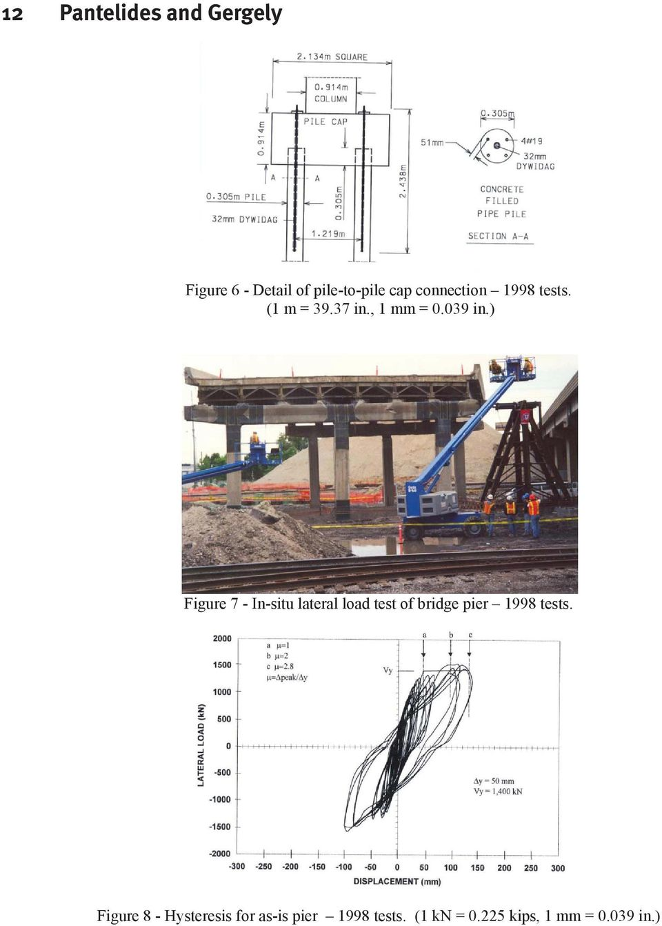 ) Figure 7 - In-situ lateral load test of bridge pier 1998 tests.
