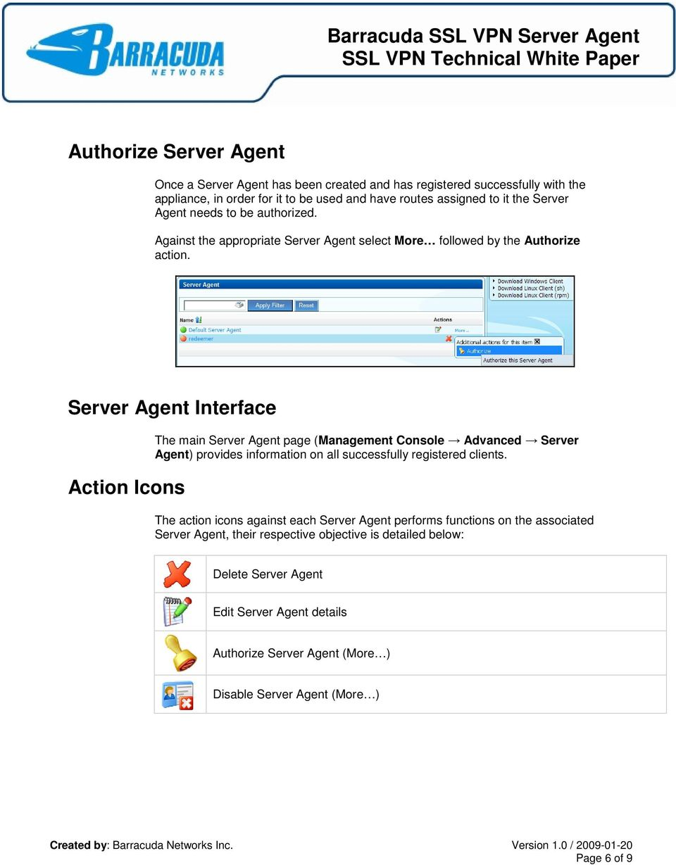 Server Agent Interface Action Icons The main Server Agent page (Management Console Advanced Server Agent) provides information on all successfully registered clients.