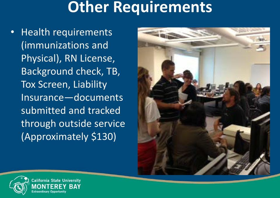 check, TB, Tox Screen, Liability Insurance documents