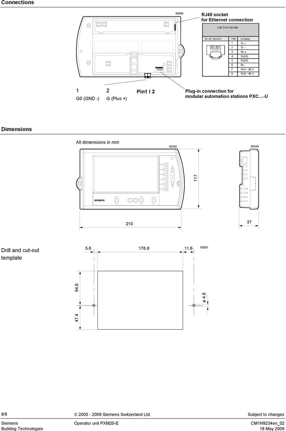 All dimensions in mm 00342 00343 117 210 37 Drill and cut-out template 5.6 176.