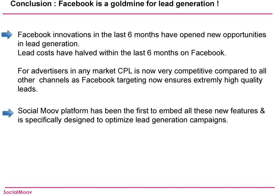 Lead costs have halved within the last 6 months on Facebook.