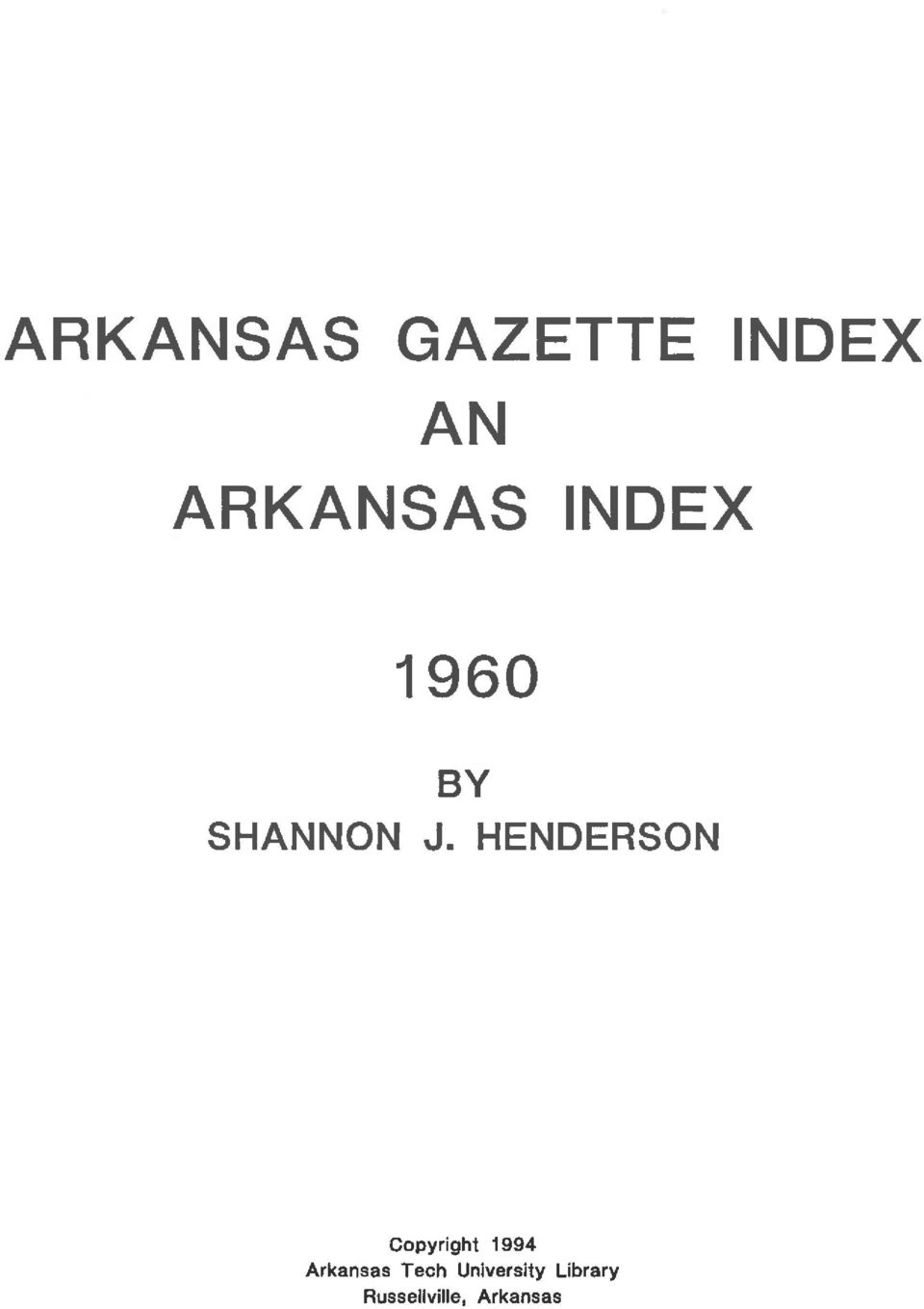HENDERSON Copyright 1994 Arkansas