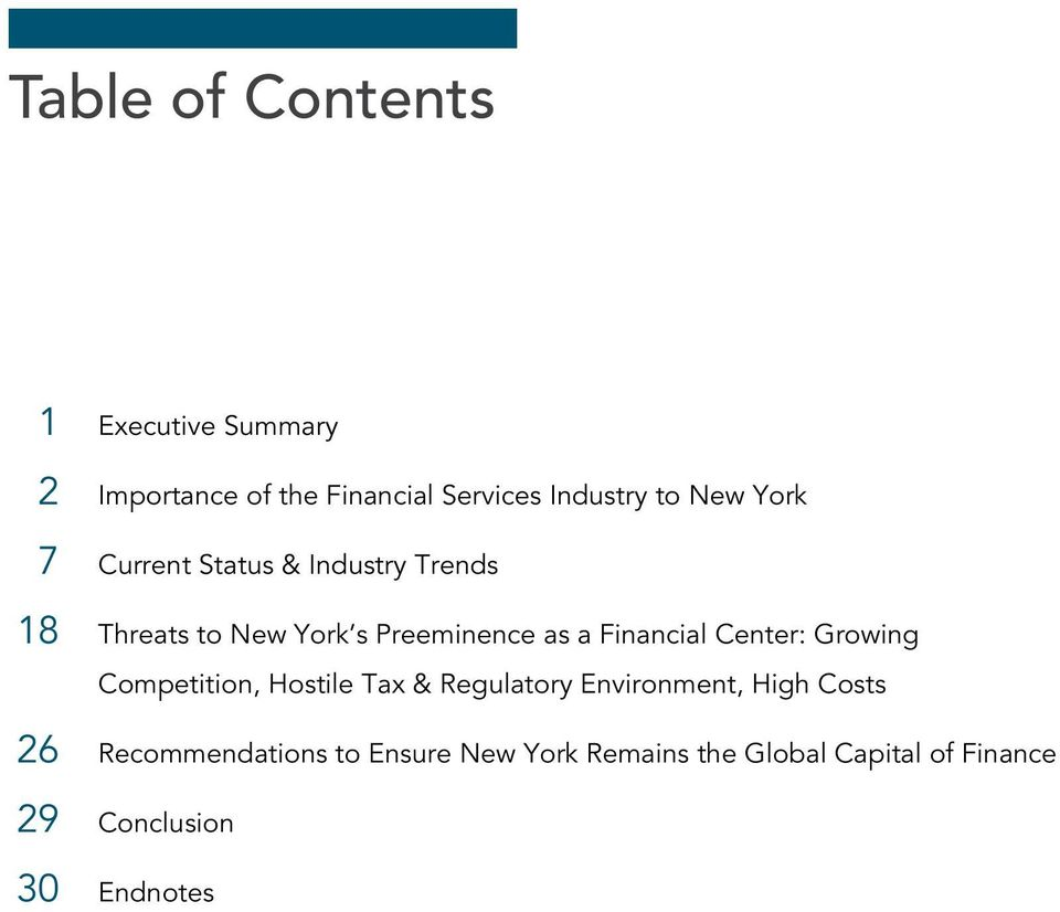 Financial Center: Growing Competition, Hostile Tax & Regulatory Environment, High Costs 26