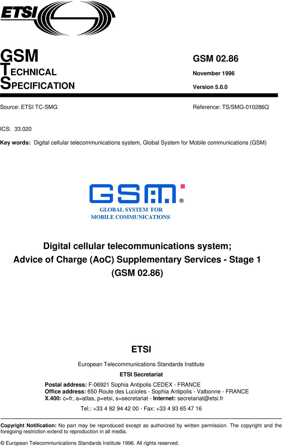 of Charge (AoC) Supplementary Services - Stage 1 (GSM 02.