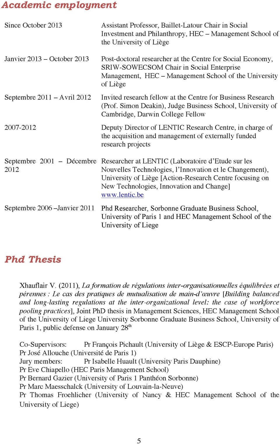 Invited research fellow at the Centre for Business Research (Prof.