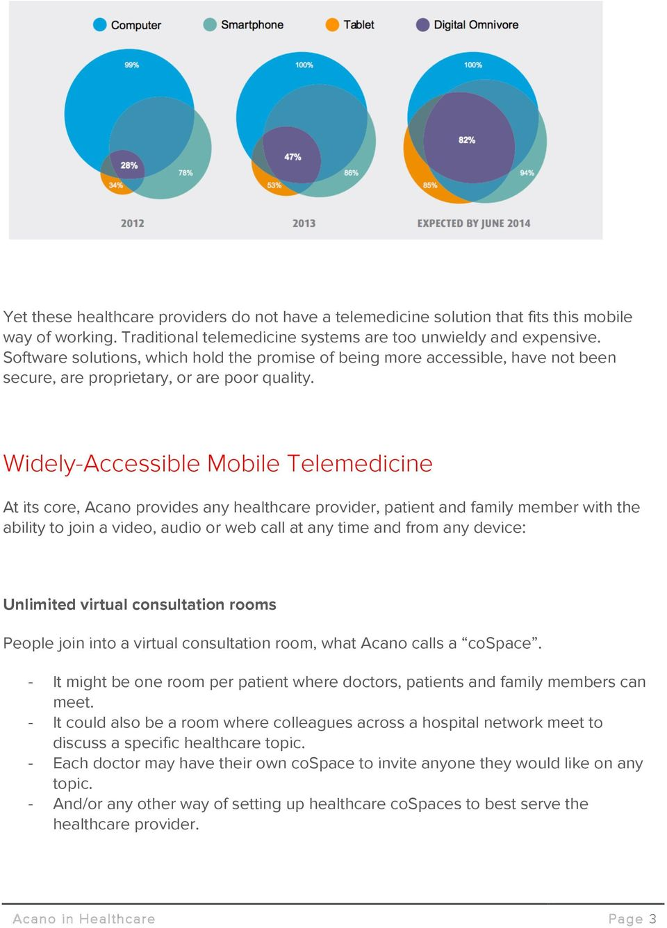 Widely-Accessible Mobile Telemedicine At its core, Acano provides any healthcare provider, patient and family member with the ability to join a video, audio or web call at any time and from any