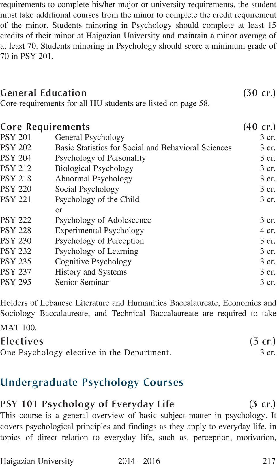 Students minoring in Psychology should score a minimum grade of 70 in PSY 201. General Education Core requirements for all HU students are listed on page 58. (30 cr.) Core Requirements (40 cr.