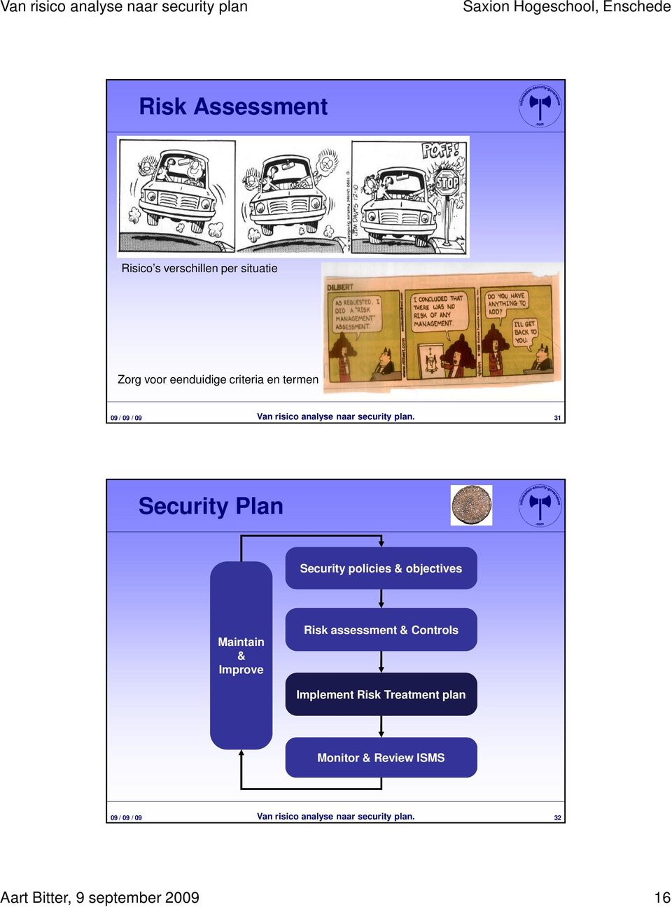 31 Security Plan Security policies & objectives Maintain & Improve Risk assessment &