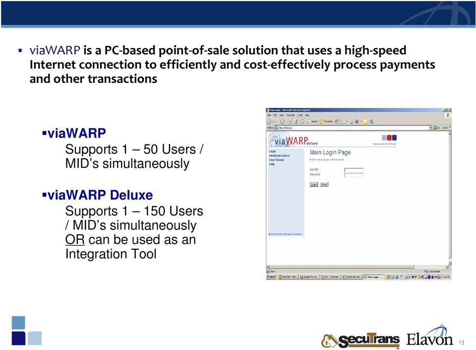 transactions viawarp Supports 1 50 Users / MID s simultaneously viawarp Deluxe