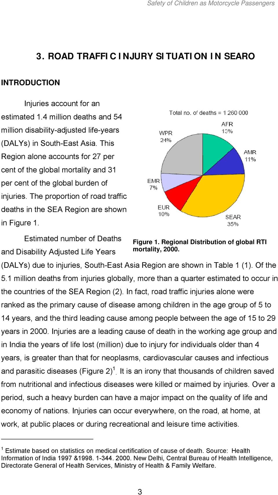 This Region alone accounts for 27 per cent of the global mortality and 31 per cent of the global burden of injuries. The proportion of road traffic deaths in the SEA Region are shown in Figure 1.