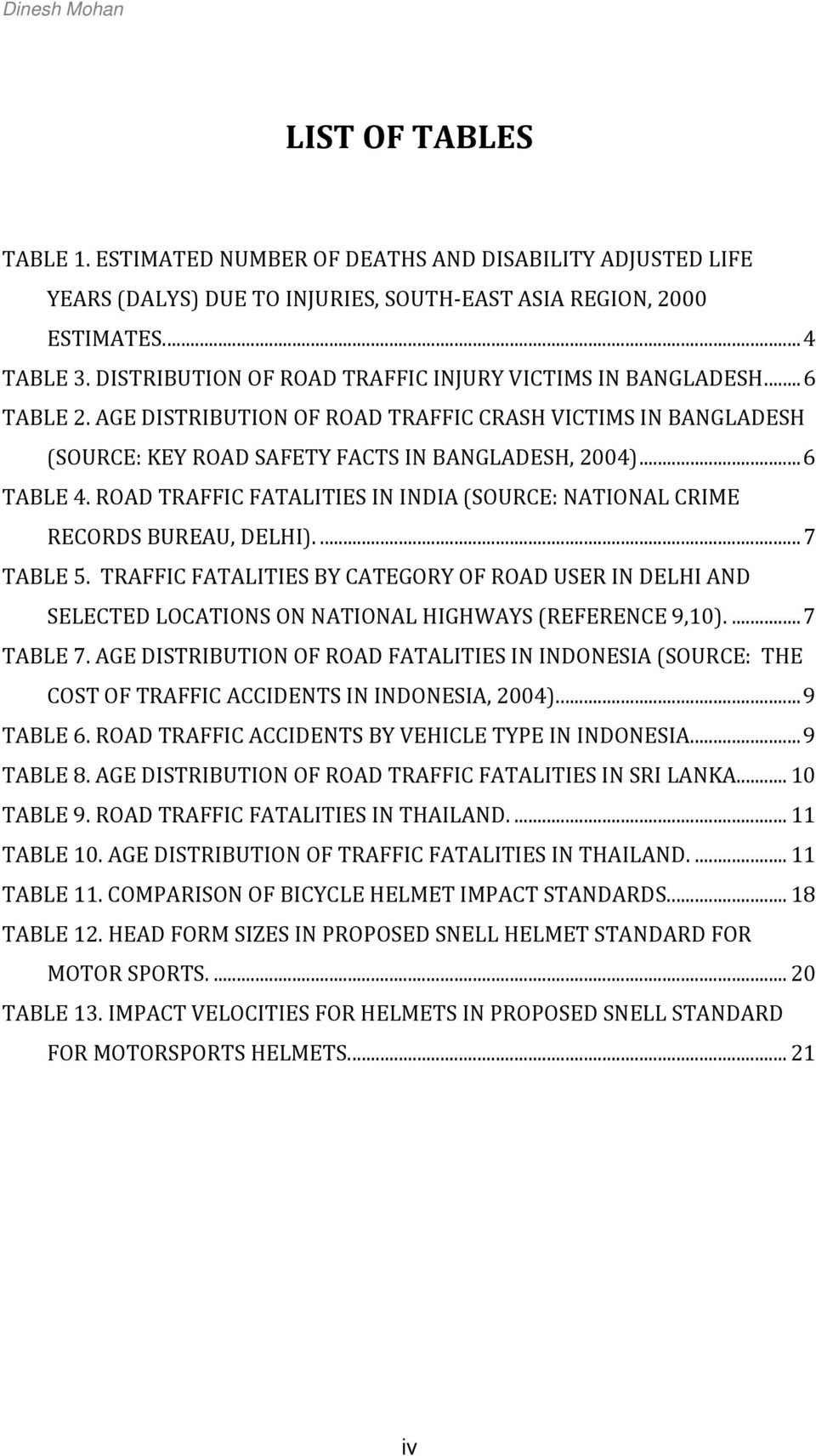 ROAD TRAFFIC FATALITIES IN INDIA (SOURCE: NATIONAL CRIME RECORDS BUREAU, DELHI).... 7 TABLE 5.