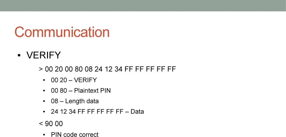 Plaintext PIN 08 Length data 24 12 34 FF