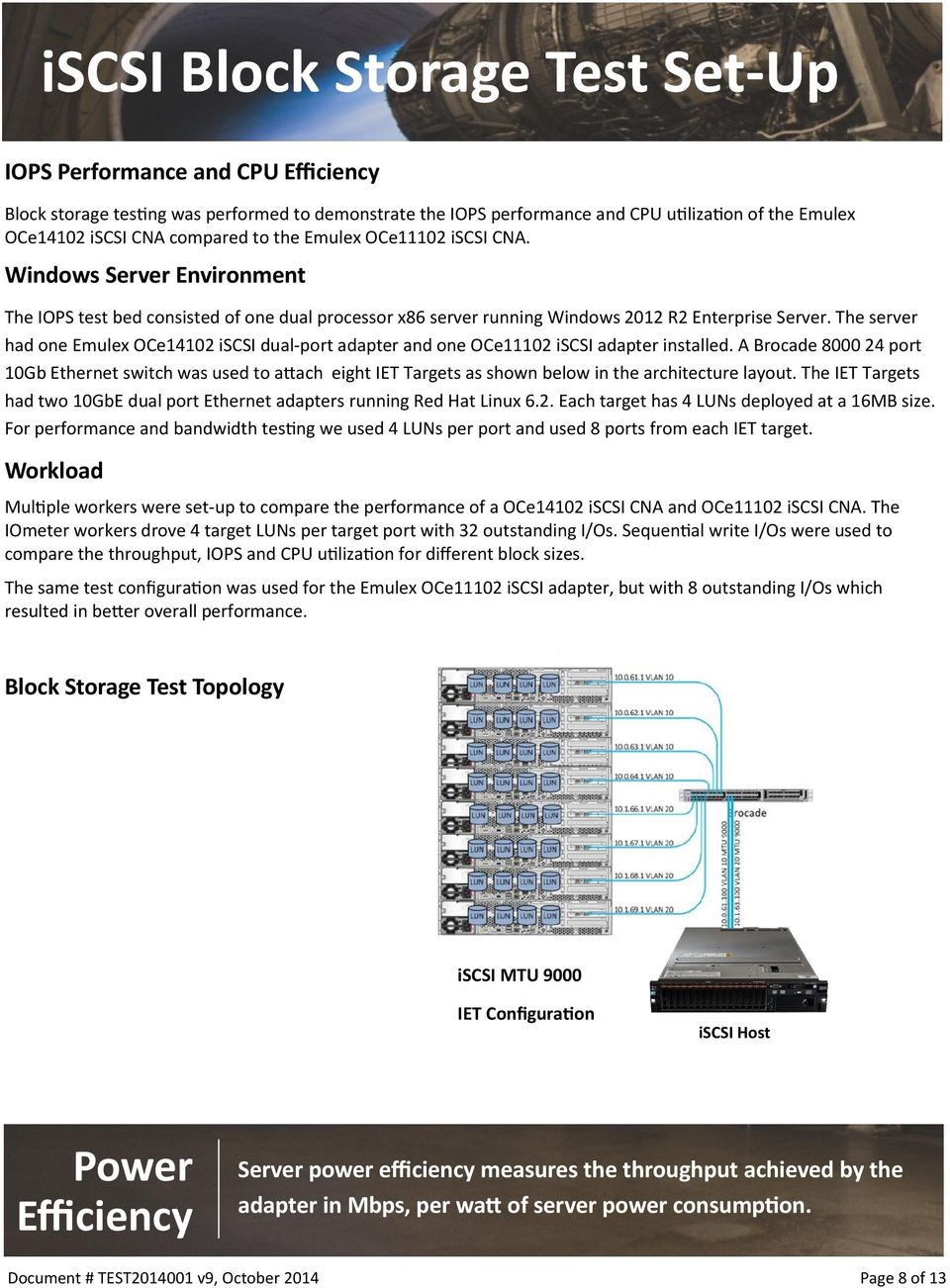 The server had one Emulex OCe14102 iscsi dual-port adapter and one OCe11102 iscsi adapter installed.