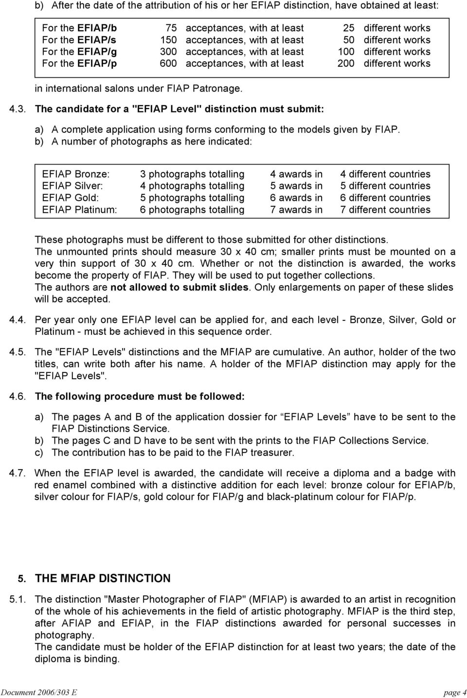 "Patronage. 4.3. The candidate for a ""EFIAP Level"" distinction must submit: a) A complete application using forms conforming to the models given by FIAP."