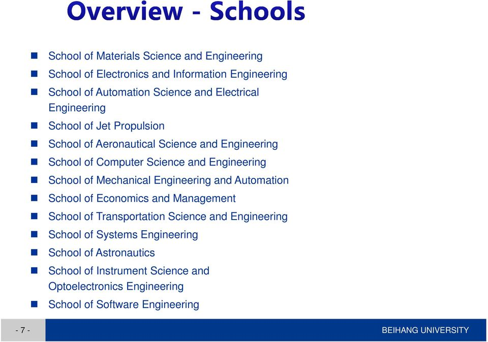 Mechanical Engineering and Automation School of Economics and Management School of Transportation Science and Engineering School of Systems